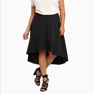 NWT SZ 26 Torrid Crepe High Low Mini Maxi Skirt